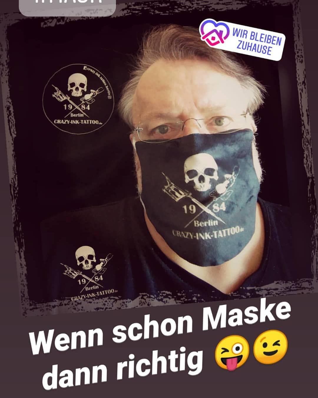 Corona Masken Mit Crazy Ink Tattoo Logo